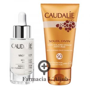 Caudalie Vinoperfect serum antimanchas 30ml + protector solar facial FPS50 de 20ml